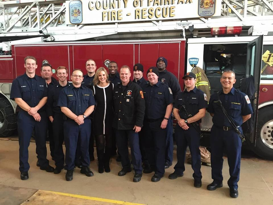 NBC Washington traffic reporter Melissa Mollet stopped by our Fairfax County Fire Station 10 (Baileys Crossroads) to have brunch with the team. How cool is that? Thank you Melissa!