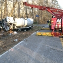 Fairfax County sewage truck overturned in the Clifton area 7 January 2014.
