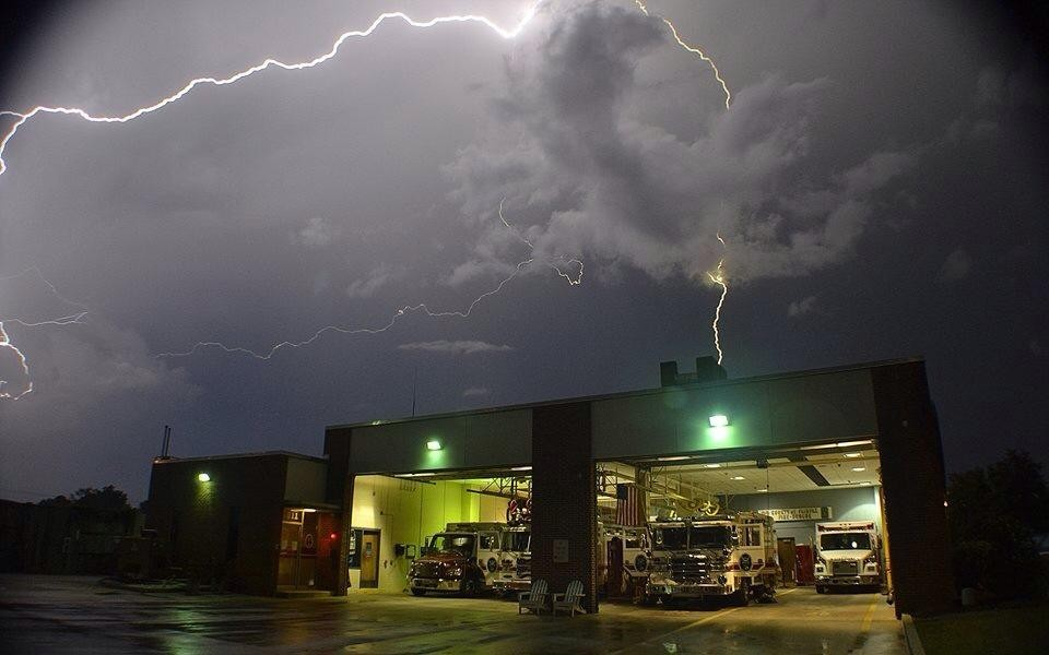 Great lightning shot outside Fire Station 22 over the summer. (2015)