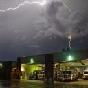 Great lightning shot outside Fire Station 22 over the summer. (2015)