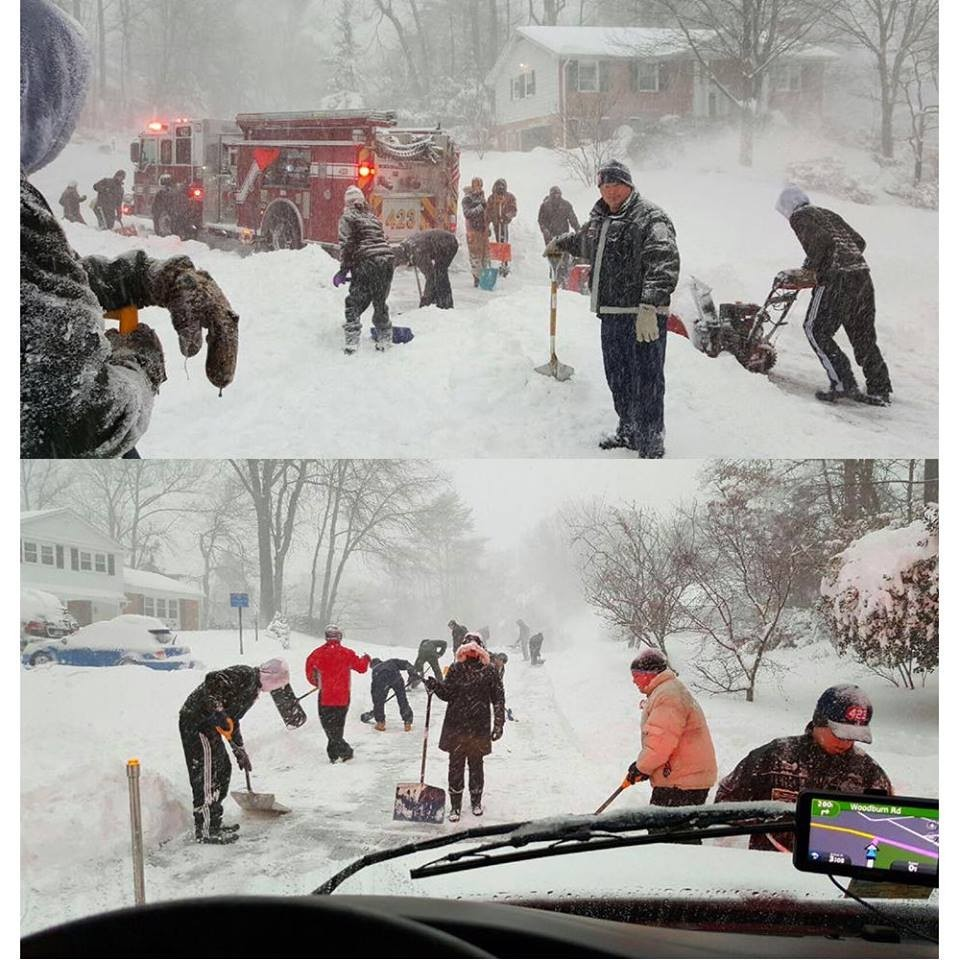 CITIZEN HEROES - The amazing citizens in the Camelot subdivision of Fairfax help dig out Engine 423 & Medic 423 during a medical emergency. They shoveled the uphill street! This is Team Fairfax. #blizzard2016