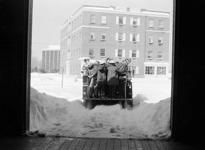 Throw Back Thursday when firefighters rode the backstep during snowstorms in Seven Corners, VA at Fairfax County Fire Station 28 #tbt