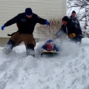 Fairfax County firefighters from Engine 35 E435 cleared an emergency medical call ... then assisted kids stuck in the snow with their sleds smile emoticon Awesome.