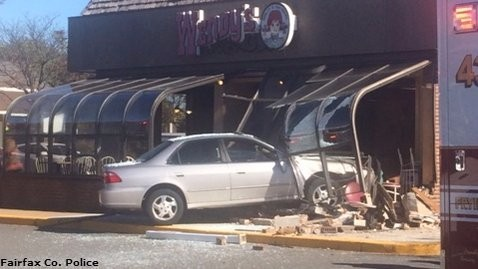 Five people injured after car crashes into Wendy's, Fairfax Co. fire official says. - Nov 3 2015