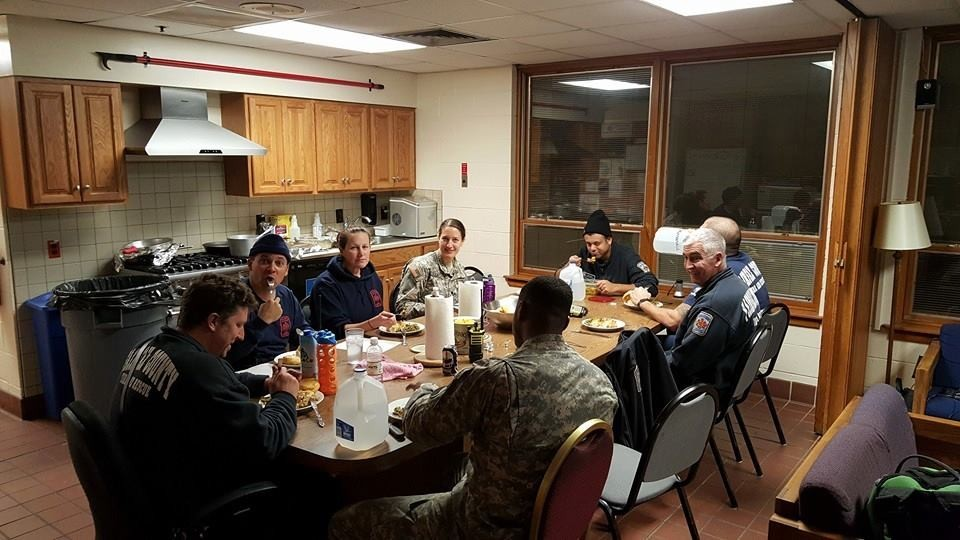 A Fairfax County firehouse dinner with the amazing National Guard brothers and sisters who have been working with us to serve you. Great folks! #blizzard2016