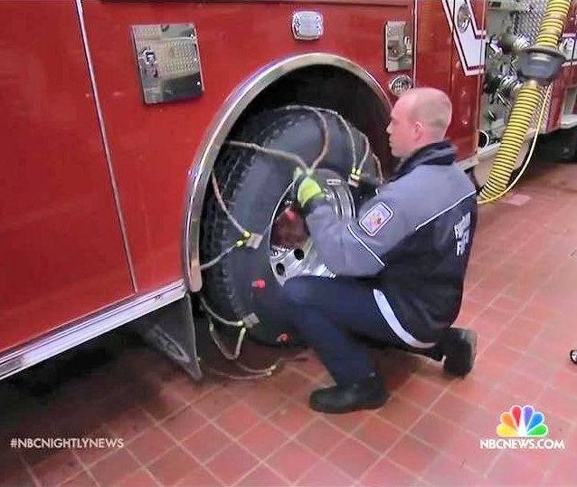 JAN 22 2016 - Our Fairfax County Firefighters on NBC news putting chains on the fire trucks. Even in deep snow we will respond to your emergencies. We never close. #jonas