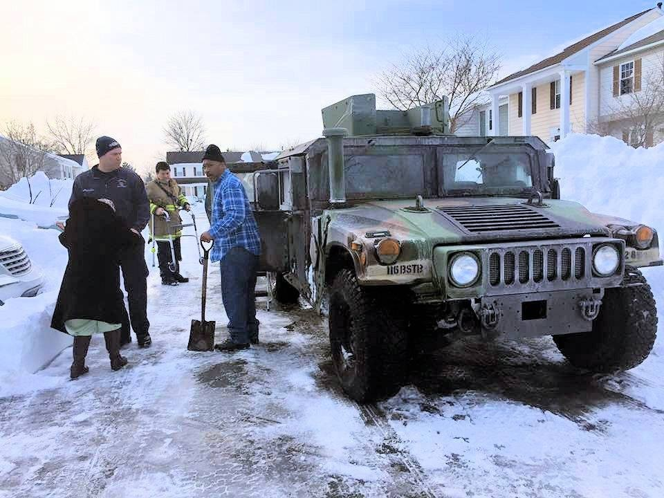 National Guard Humvee 403 assisting Fairfax County Fire Fighters transport a elderly woman to dialysis. Great partnership this week with the Virginia National Guard #blizzard2016