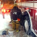Fairfax County firefighters repair their cable chains out in the streets as they break. Whatever it takes. #keepontrucking #blizzardof2016