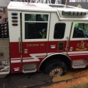 Arlington County Fire Engine 108 found a weak spot in the road this morning. Possible water main leak or break. 20 ton vehicles tend to do that. Glad to hear no injuries. (@mollenbeckWTOP)
